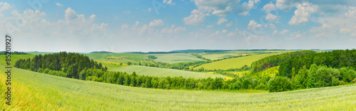 Foto op Canvas Blauw Panorama of rural landscape