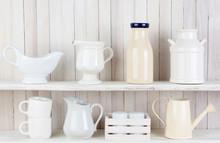 Rustic White Kitchen Shelves