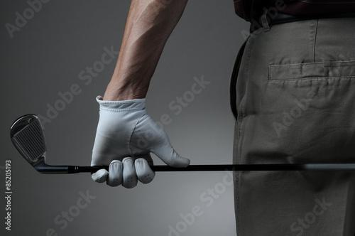 Fotografie, Obraz  Detailní záběr na Golfista s klubem