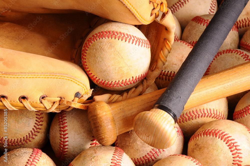 Vintage Baseball Equipment, bat, balls, glove Poster