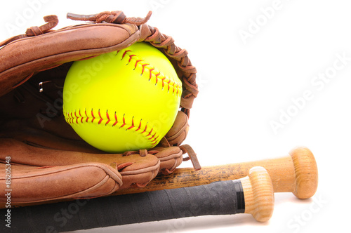 Fotografija  Softball Glove ball and two bats on white with copyspace