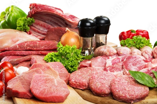 obraz lub plakat Mięso, sklep mięsny, Raw.