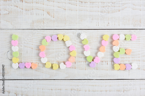 Love Spelled with Candy Hearts