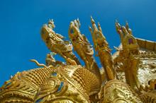 Dragon Sculpture At Entrance To Temple Sri Pan Ton, Province Nan