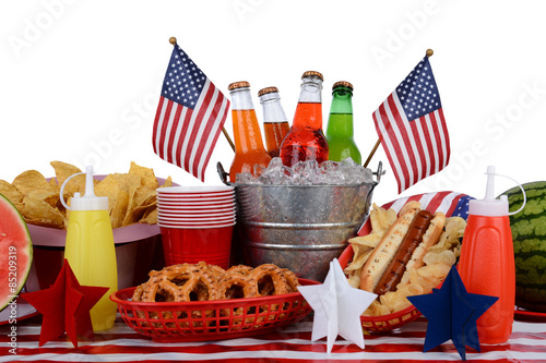 Fotografia  Picnic Table Fourth of July Theme