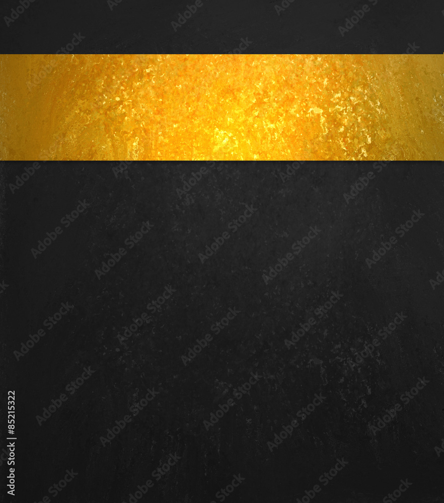 Black background. Luxury shiny gold ribbon. Black website template design.