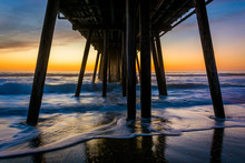 Waves Under The Fishing Pier At Sunset, In Imperial Beach, Calif