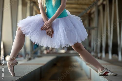 Fotografie, Obraz  Cropped picture legs of graceful ballerina in white tutu
