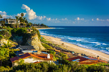 View Of Houses And The Beach From A Cliff In San Clemente, Calif
