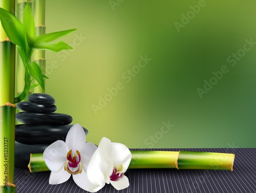 Stone, flower and bamboo on the table background - 85233727