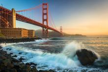 The Golden Gate Bridge, Seen At Sunrise From Fort Point, San Fra