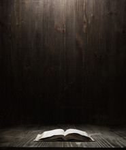 Dark Wooden Background Texture. Wood Shelf, Grunge Industrial Interior With A Book