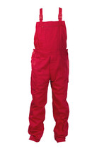 Red Dungarees -protective Clothing. Isolated On White.