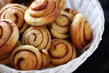 Homemade Cinnamon Buns In A Basket