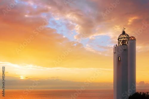 Garden Poster Lighthouse Gorliz lighthouse at sunset