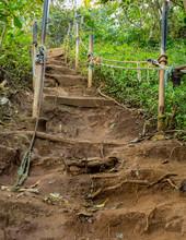 Steep Climb On Dirt Path Up Hillside