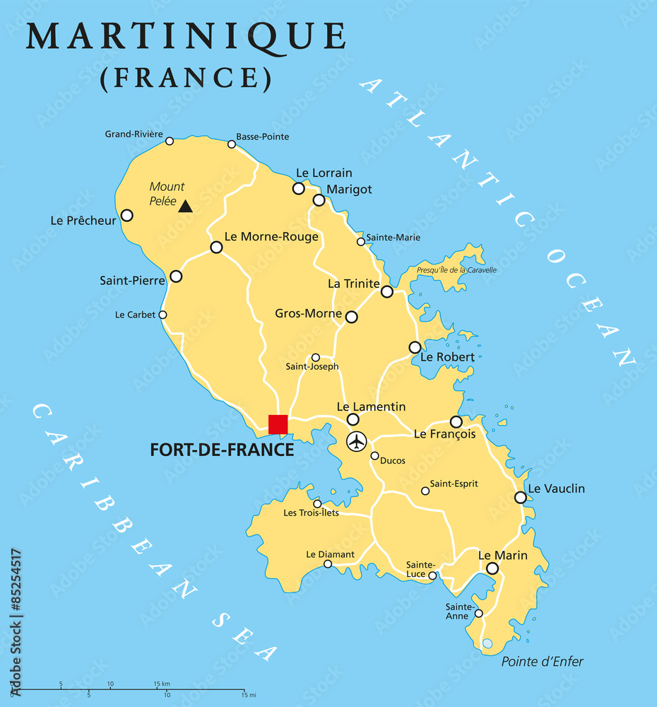 Gamesageddon Stock Martinique Political Map With Capital Fort