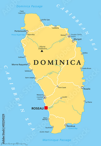 Dominica political map with capital Roseau and important places ...