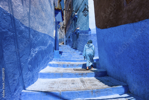 Stairway and wall in medina of chefchaouen, morocco