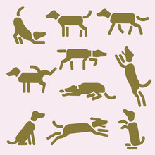 A Set Of Dog Icons Or Pictogra...