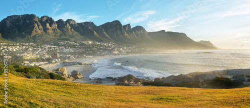 Acrylic Prints Africa Camps Bay Beach in Cape Town, South Africa, with the Twelve Apostles in the background.