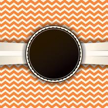 Retro Chevron Pattern And Ribbon With Badge
