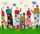 Fairy tale town. Watercolors on paper