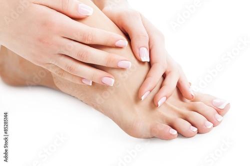 Foot, nail, woman. Tablou Canvas