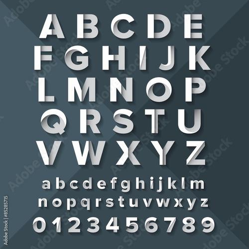 Cuadros en Lienzo  Vector Alphabet Set Silver on Dark Blue background.