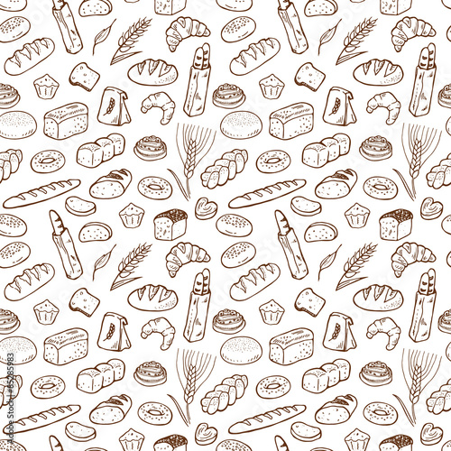 Fototapeta Hand drawn bakery seamless pattern background. obraz