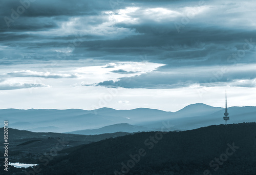 The Black Mountain And Beyond During Dusk Twilight Canvas