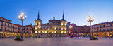 Evening panorama of Plaza Mayor in Leon, Spain