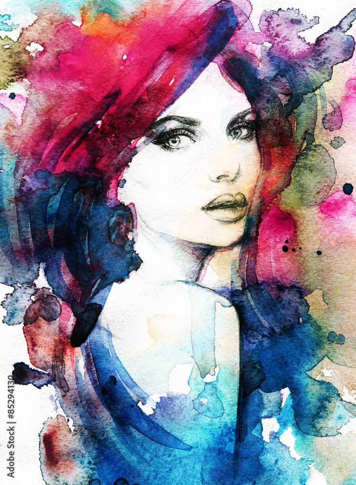 Fototapety, obrazy: Woman face. Hand painted fashion illustration
