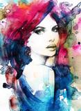 Twarz kobiety. Ręcznie malowane ilustracja moda - 85294130