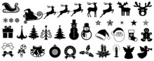 Christmas Vector Icon Set, Background, Black, Isolated