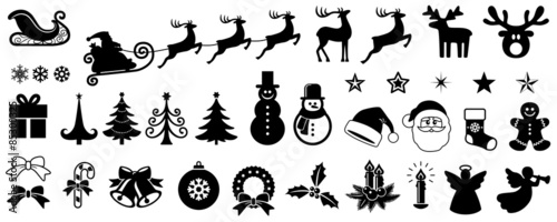 Obraz na plátně Christmas Vector Icon Set, Background, Black, Isolated