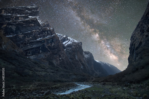 Fotografie, Obraz  Milky Way over the Himalayas