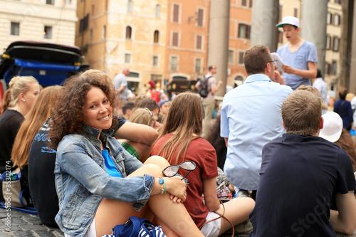Zdjęcie XXL Piękny dziewczyna turysta w Rzym, wakacje w Włochy