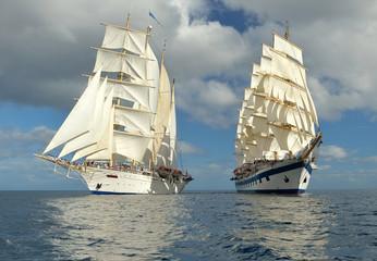 Fototapeta na wymiar Sailing. Series of ships and yachts