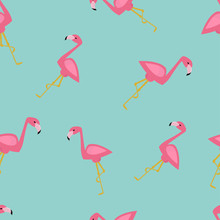 Seamless Vector Pattern With Flamingo