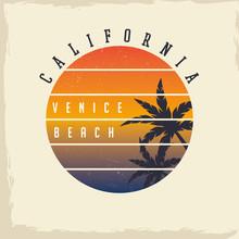California Venice Beach. T-shirt Graphics.