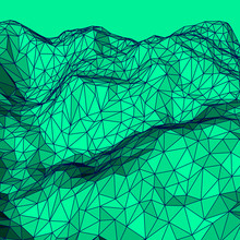Green Abstract Low-poly, Polygonal Triangular Mosaic Elevation Background For Design Concepts, Posters, Banners, Web, Presentations And Prints. Vector Illustration. Realistic 3D Render Design Template