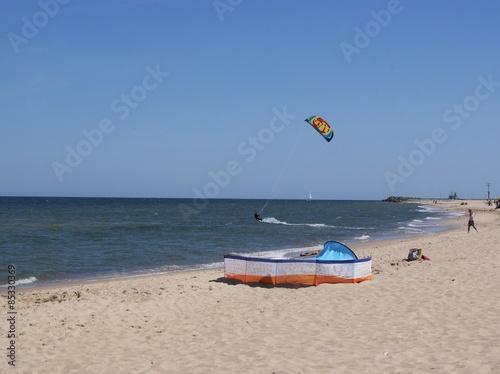 Recess Fitting Water Motor sports kitesurfer and Baltic sea beach near Wladyslawowo