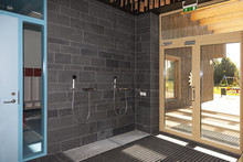 Shower For Cleaning Dirty Shoes At Entrance Of New Kindergarten