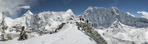 Nepal, Khumbu, Everest region, mountaineers on Island peak #85343399