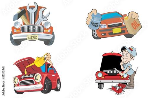 Staande foto Cartoon cars Car repair logo