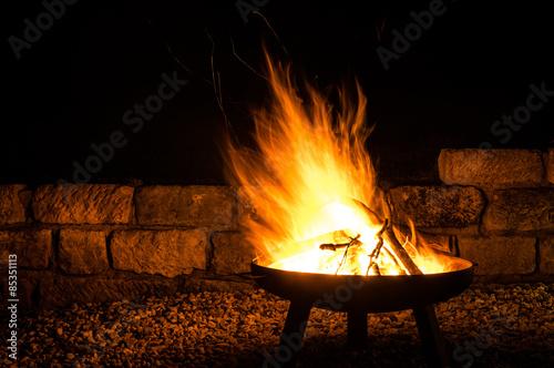 Tablou Canvas Lagerfeuer, Flammen Faszination Feuerschale, Fire Bowl, Glut, Feuerholz