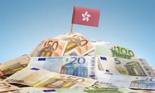 Flag Of Hong Kong Sticking In A Pile Of Various European Banknot