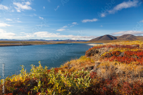 Montage in der Fensternische Braun Colorful autumn tundra and river Amguema Arctic Circle, Russia