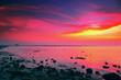 canvas print picture - Beautiful Sunset Over Sea
